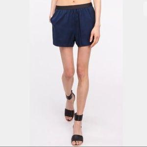 T By Alexander Wang Silk Shorts Navy Blue